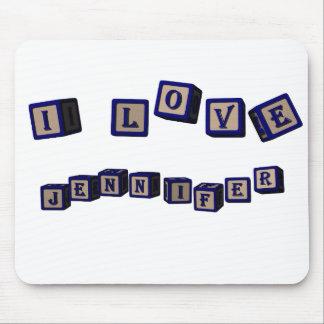 I love Jennifer toy blocks in blue Mouse Pad