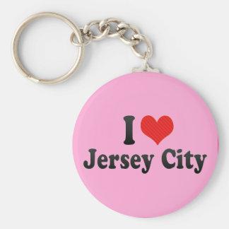 I Love Jersey City Basic Round Button Keychain