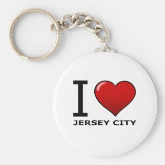 I LOVE JERSEY CITY,NJ - NEW JERSEY BASIC ROUND BUTTON KEYCHAIN
