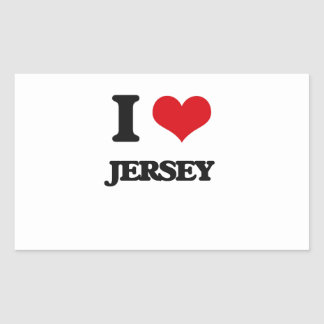 I Love Jersey Rectangle Stickers