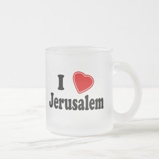 I Love Jerusalem 10 Oz Frosted Glass Coffee Mug