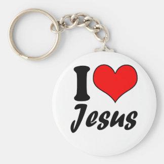 I Love Jesus Basic Round Button Keychain