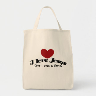 I love Jesus but I cuss a little Tote Bag
