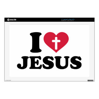 "I love Jesus cross Decals For 17"" Laptops"