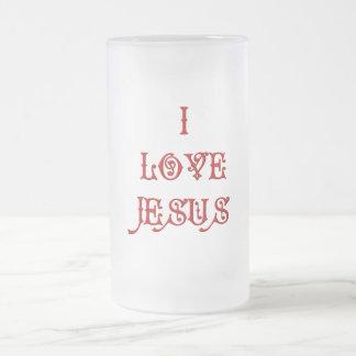 I love Jesus Frosted Glass Beer Mug