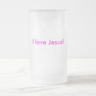 I love Jesus! Frosted Glass Beer Mug