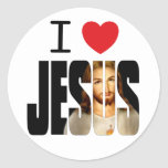 I Love Jesus - I Heart Jesus with image in name Classic Round Sticker