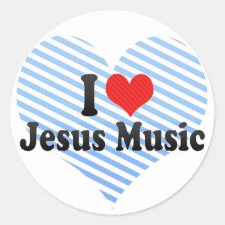 I Love Jesus Music Classic Round Sticker