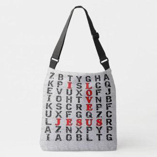 I Love Jesus Word Search Style Christian Crossbody Bag