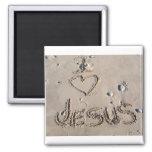I love Jesus written in sand Magnets