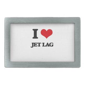 I Love Jet Lag Rectangular Belt Buckles