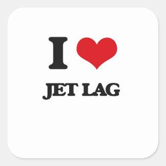I Love Jet Lag Square Stickers