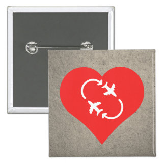 I Love jetsetting Cool Icon 2 Inch Square Button