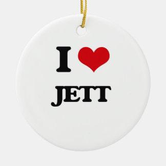 I Love Jett Round Ceramic Ornament