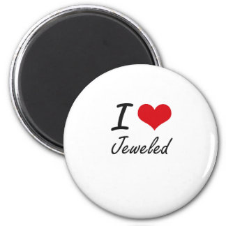I Love Jeweled 2 Inch Round Magnet