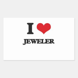 I Love Jeweler Rectangular Sticker