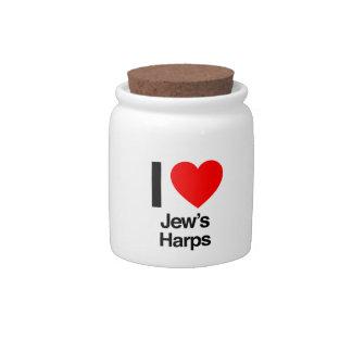 i love jews harps candy dishes