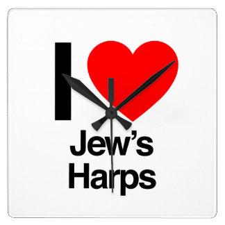 i love jews harps square wall clocks