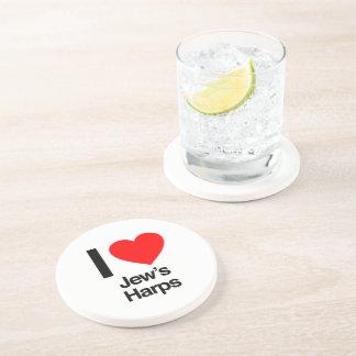 i love jews harps beverage coaster