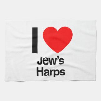i love jews harps hand towels