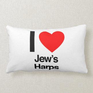 i love jews harps throw pillows