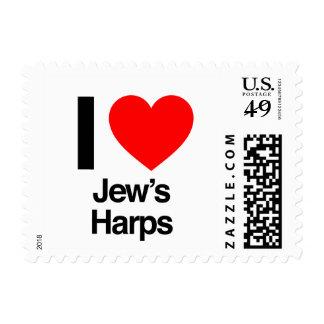 i love jews harps stamp
