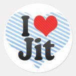 I Love Jit Round Stickers