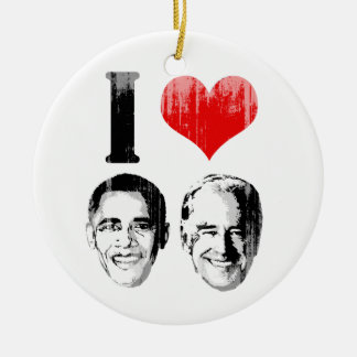 I Love Jobama red plain Vintage.png Double-Sided Ceramic Round Christmas Ornament