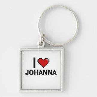 I Love Johanna Digital Retro Design Silver-Colored Square Keychain