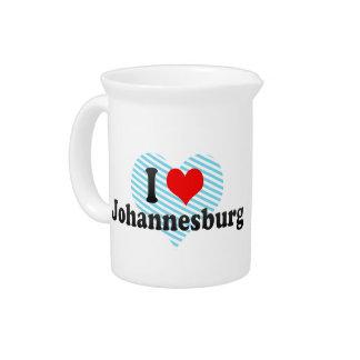 I Love Johannesburg, South Africa Beverage Pitcher