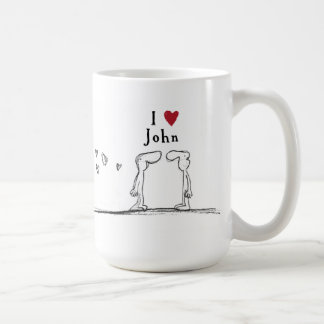 """I love John"" ""I heart John"" Coffee Mug"