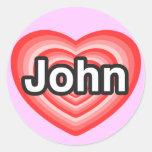 I love John. I love you John. Heart Sticker