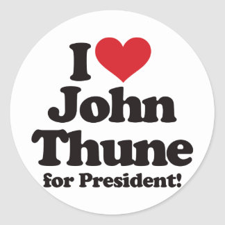I Love John Thune for President Classic Round Sticker