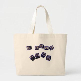 I love John toy blocks in blue Jumbo Tote Bag