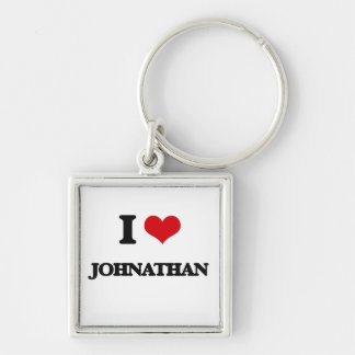 I Love Johnathan Silver-Colored Square Keychain