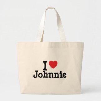 I love Johnnie heart custom personalized Jumbo Tote Bag