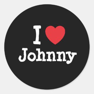 I love Johnny heart custom personalized Classic Round Sticker