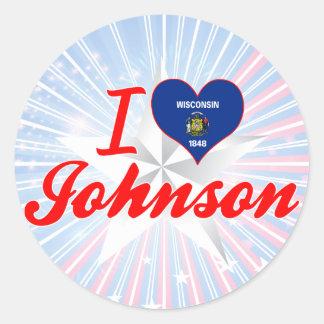 I Love Johnson, Wisconsin Classic Round Sticker