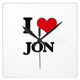 I Love Jon Square Wallclocks