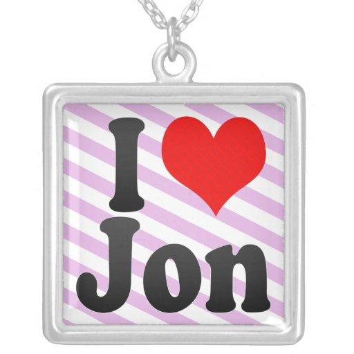 I love Jon Square Pendant Necklace