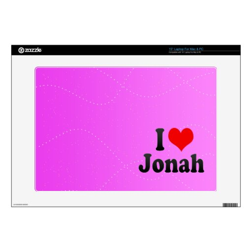 """I love Jonah Decal For 15"""" Laptop"""