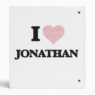 I Love Jonathan (Heart Made from Love words) Binder