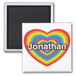 I love Jonathan. I love you Jonathan. Heart 2 Inch Square Magnet