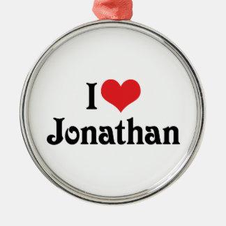 I Love Jonathan Round Metal Christmas Ornament