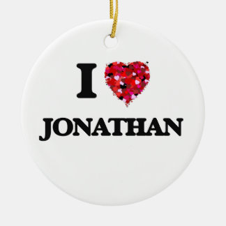 I Love Jonathan Double-Sided Ceramic Round Christmas Ornament