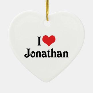 I Love Jonathan Double-Sided Heart Ceramic Christmas Ornament