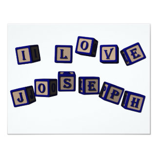 I love Joseph toy blocks in blue Card