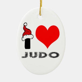 I Love Judo Design Double-Sided Oval Ceramic Christmas Ornament