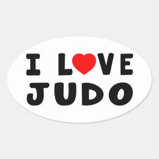 I Love Judo Martial Arts Oval Sticker