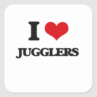 I Love Jugglers Square Stickers